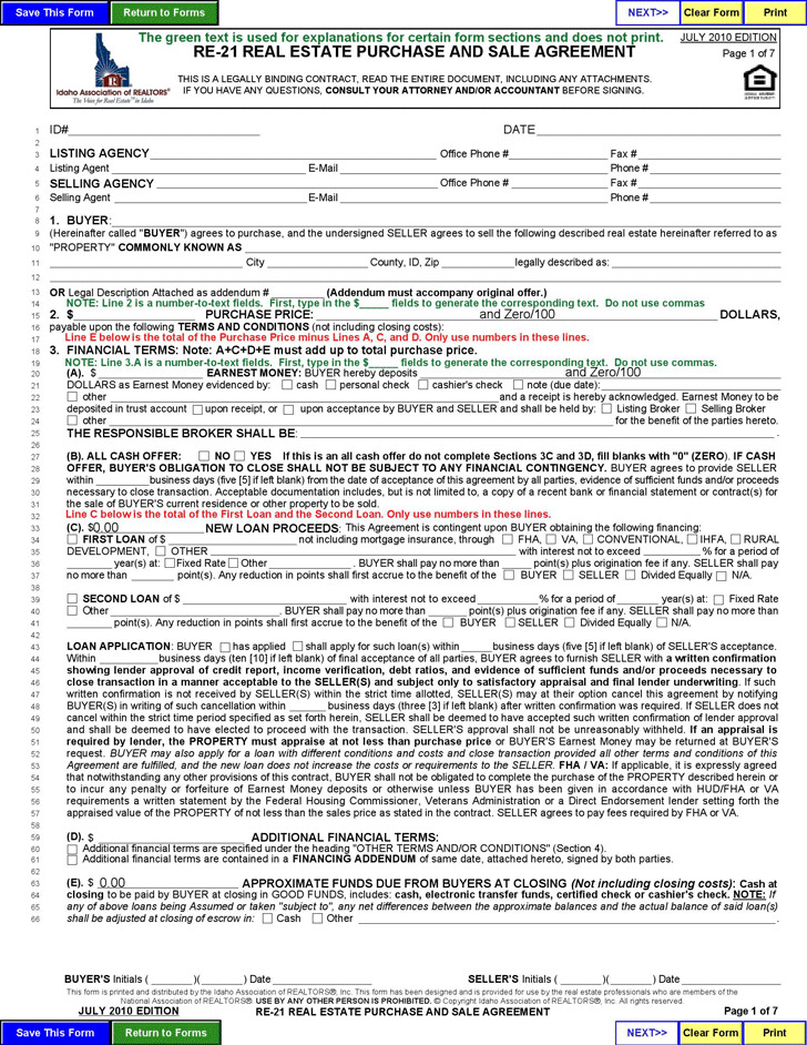 1 Idaho Offer To Purchase Real Estate Form Free Download