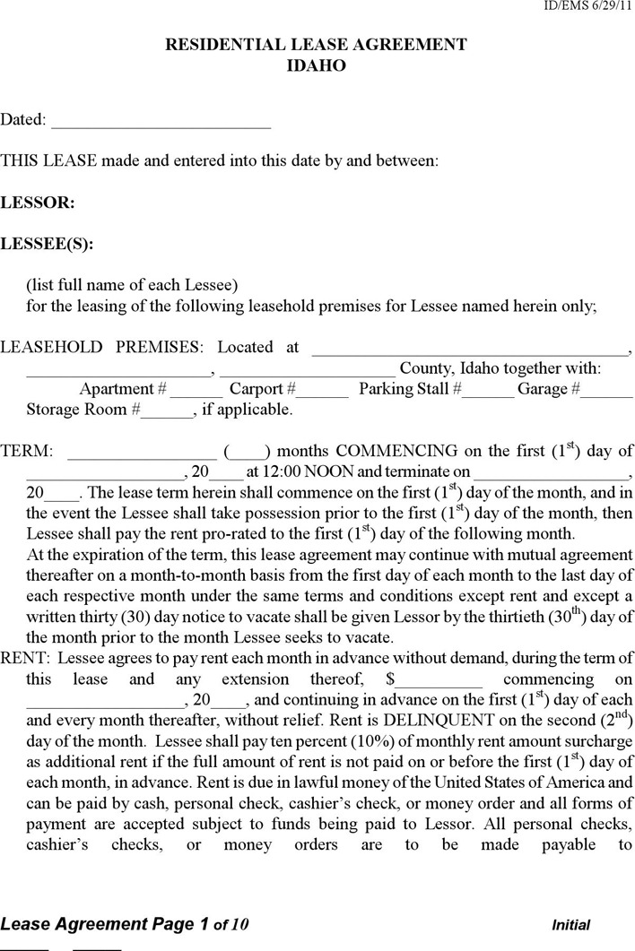 Idaho Residential Lease Agreement Form