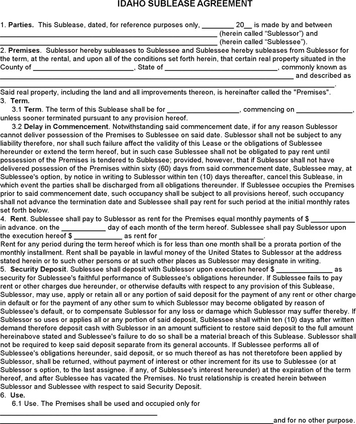 Idaho Sublease Agreement Template