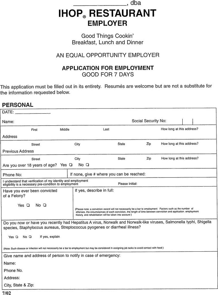 download ihop restaurant employer application for employment for
