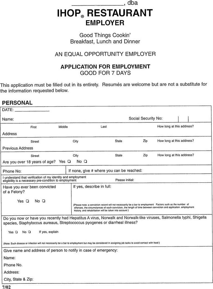 IHOP Restaurant Employer Application for Employment