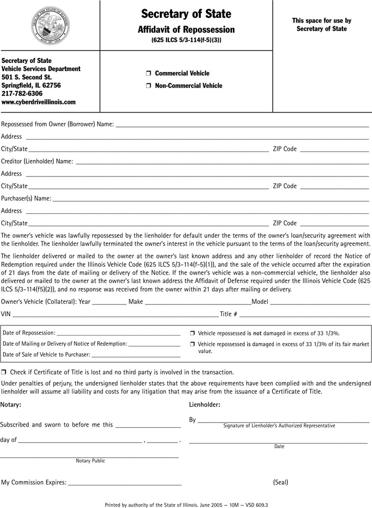 the letter people 3 illinois affidavit form free 13100 | illinois affidavit of repossession