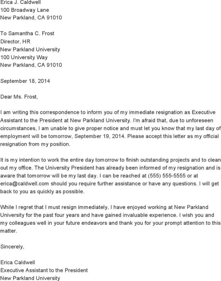 resignation letter sample download