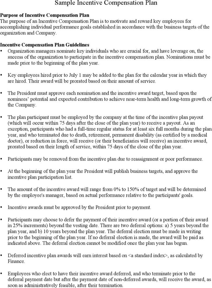 Incentive Compensation Plan Template