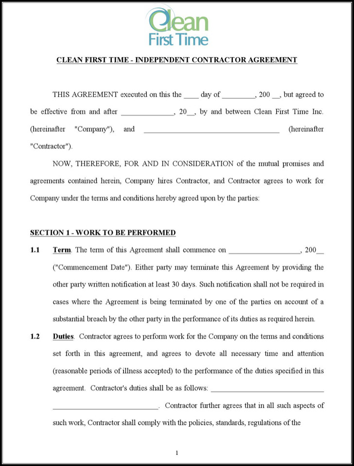 Independent Cleaning Contract Agreement Free Doc Template
