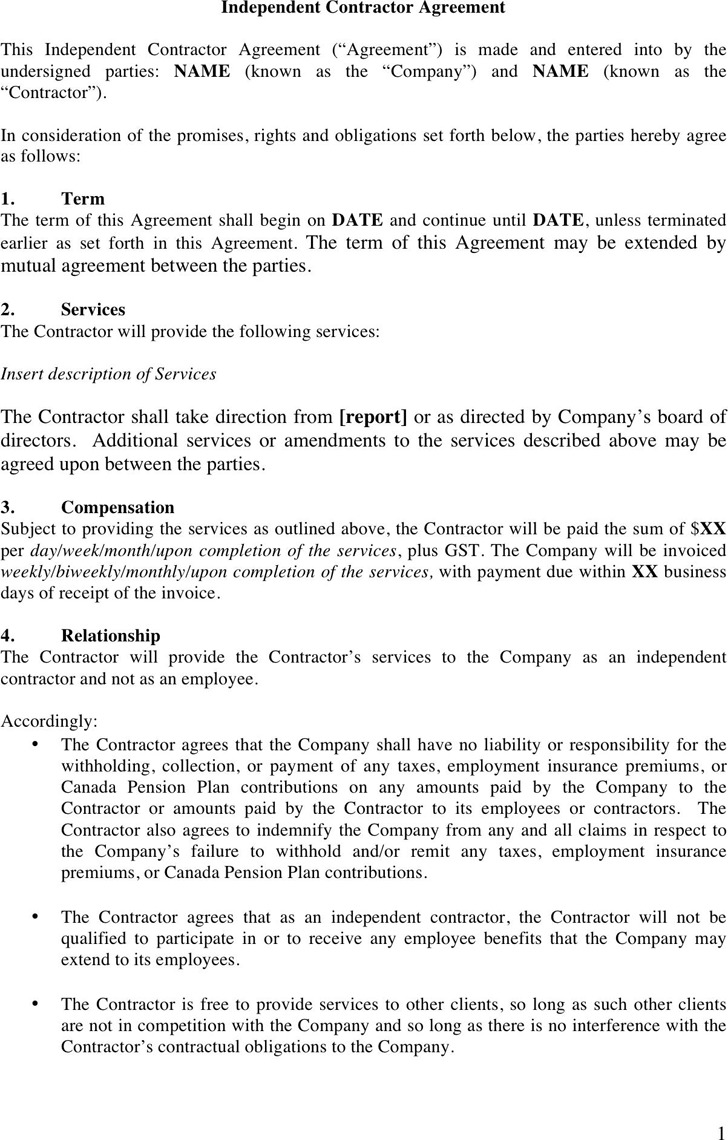 Independent Contractor Agreement Template 2