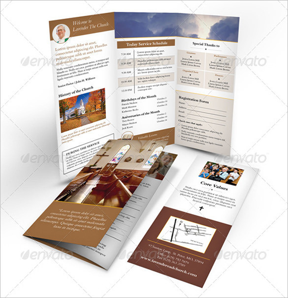 Indesign Church PSD Trifold Brochure