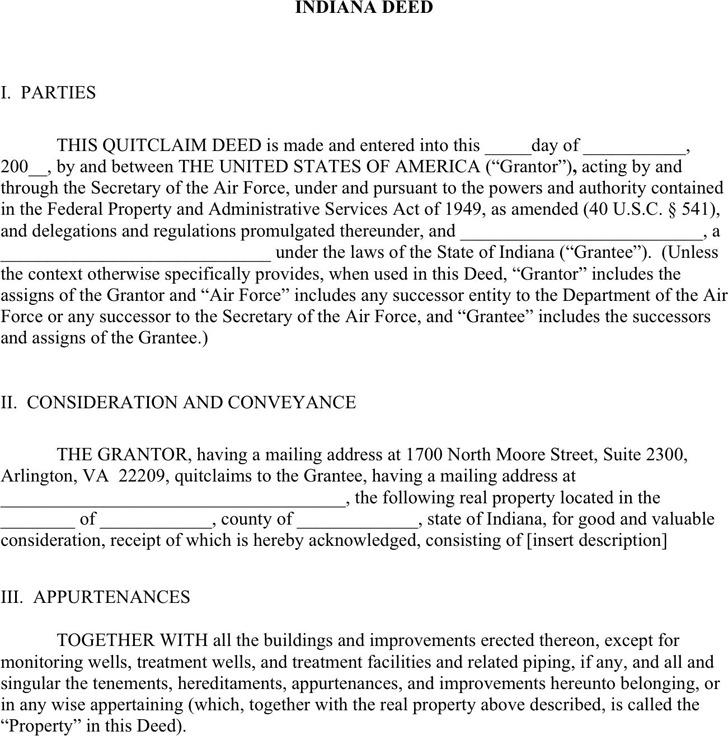 2+ Indiana Quitclaim Deed Form Free Download
