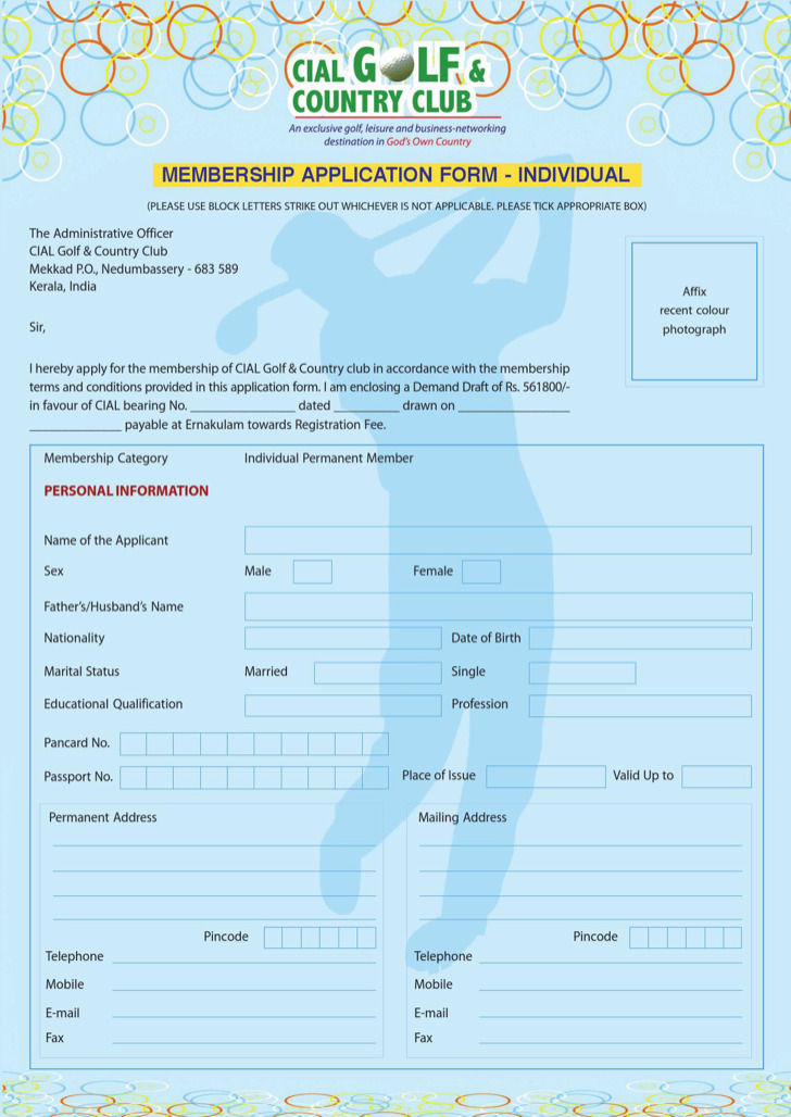 Individual Club Member Application Form Sample Download