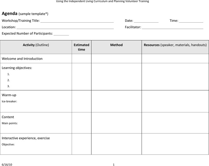 Sample Training Agenda | 3 Training Agenda Template Free Download