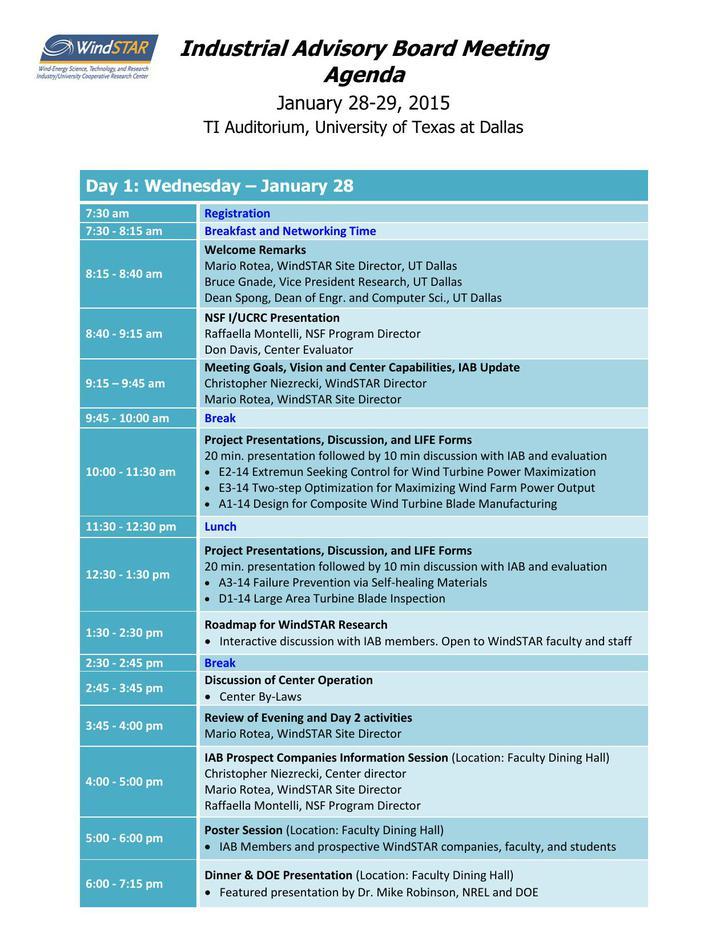 Industrial Advisory Board Meeting Agenda Template PDF Format