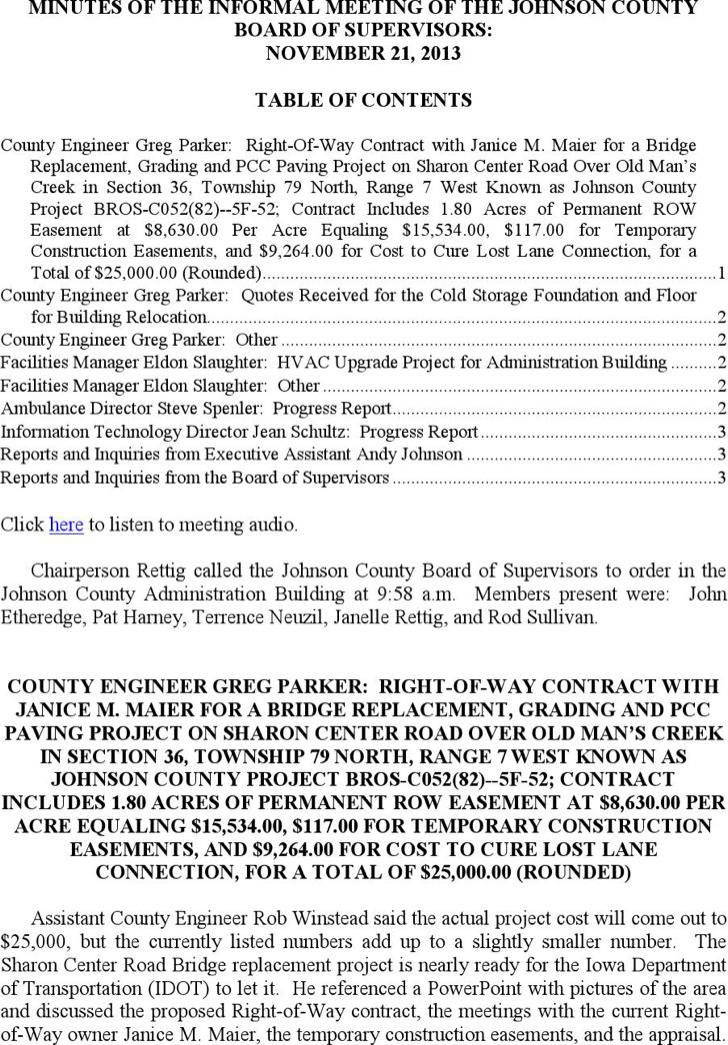 Informal Construction Meeting Minutes Template