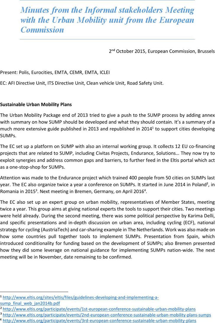 Informal Minutes On Urban Mobility