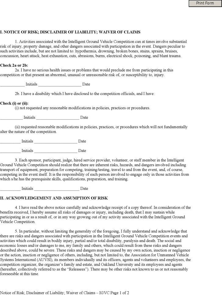 Injury Liability Waiver