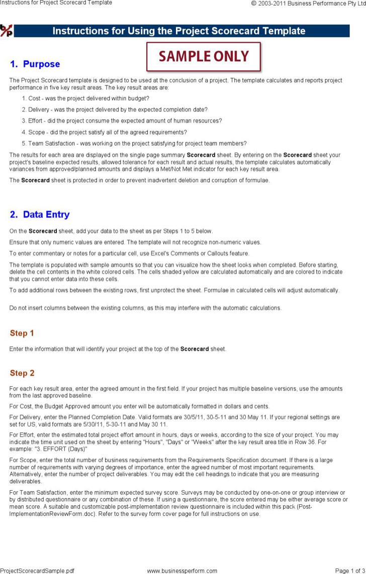 Instructions Project Scorecard