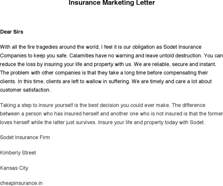 insurance marketing letter template  Download Marketing Letter Templates for Free - TidyTemplates