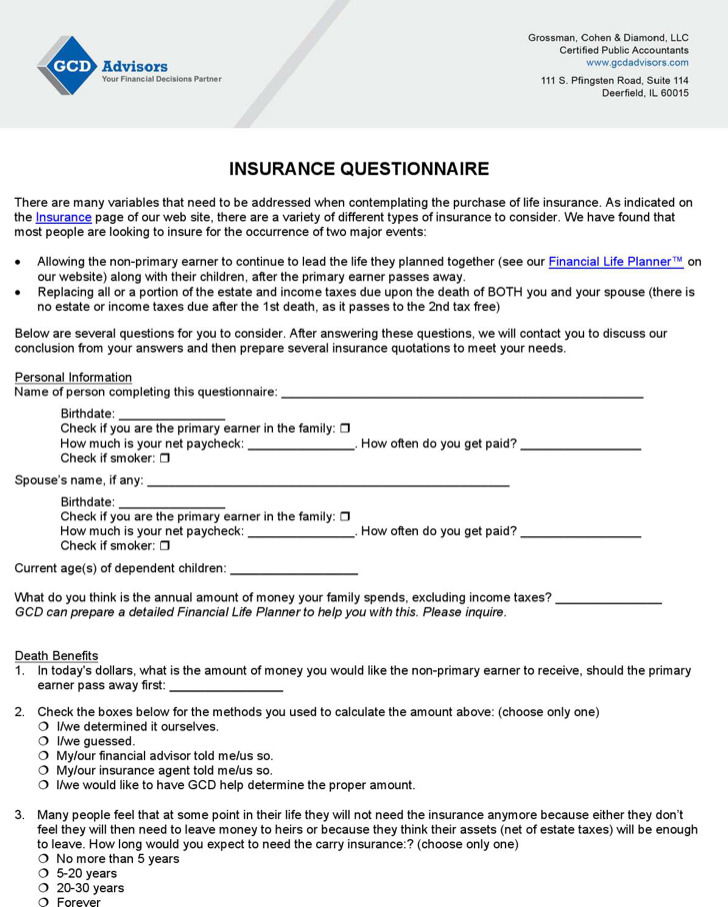 2  insurance survey template free download