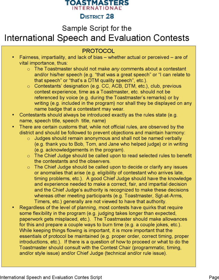 International Toastmasters Speech And Evaluation Contest Word Download
