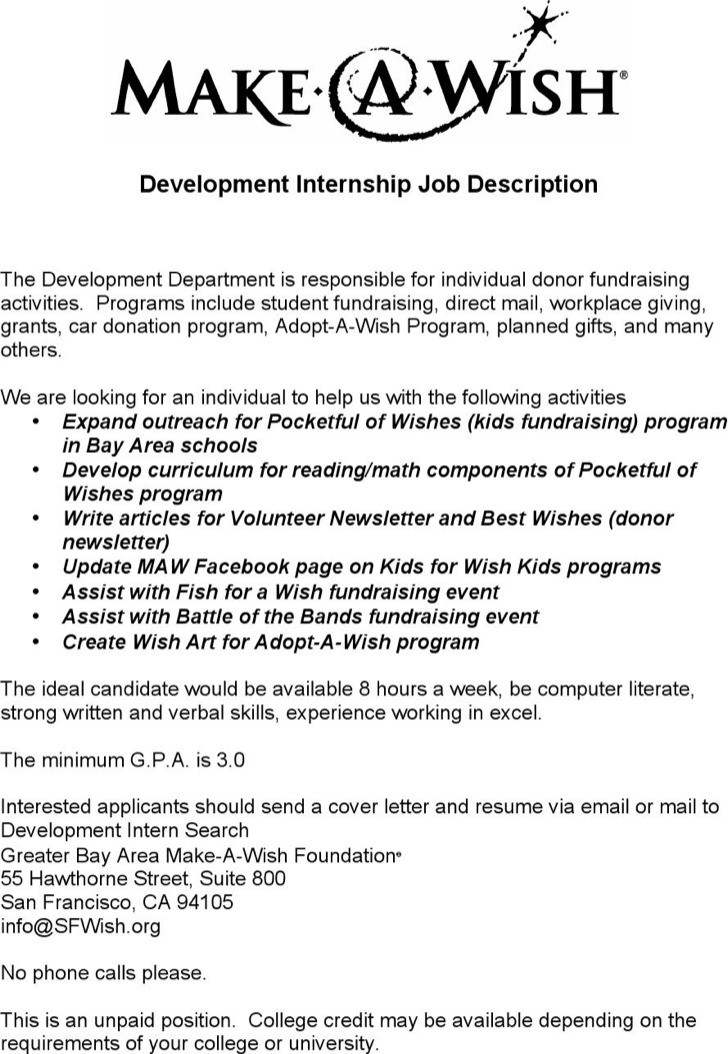 Internship Job Description Template