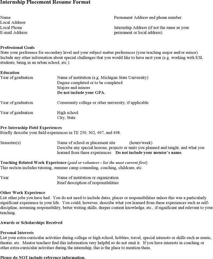 Internship Optometrist Resume