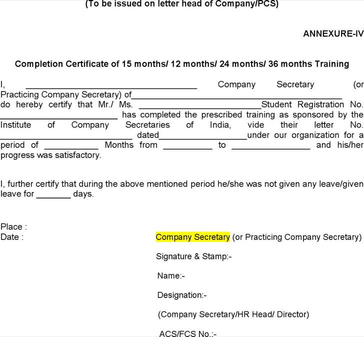 Internship Training Certificate Template