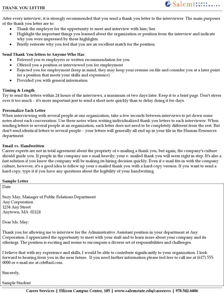 Interviewing Employee Thank You Letter Pdf Free Download