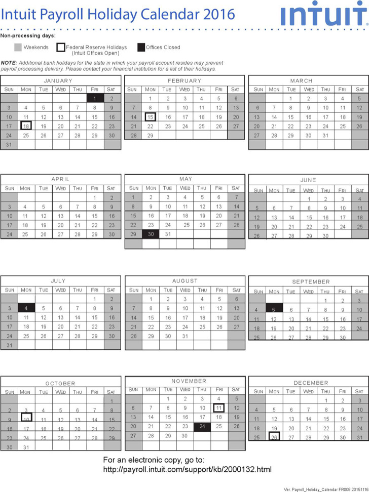 Intuit Payroll Holiday Calendar Template