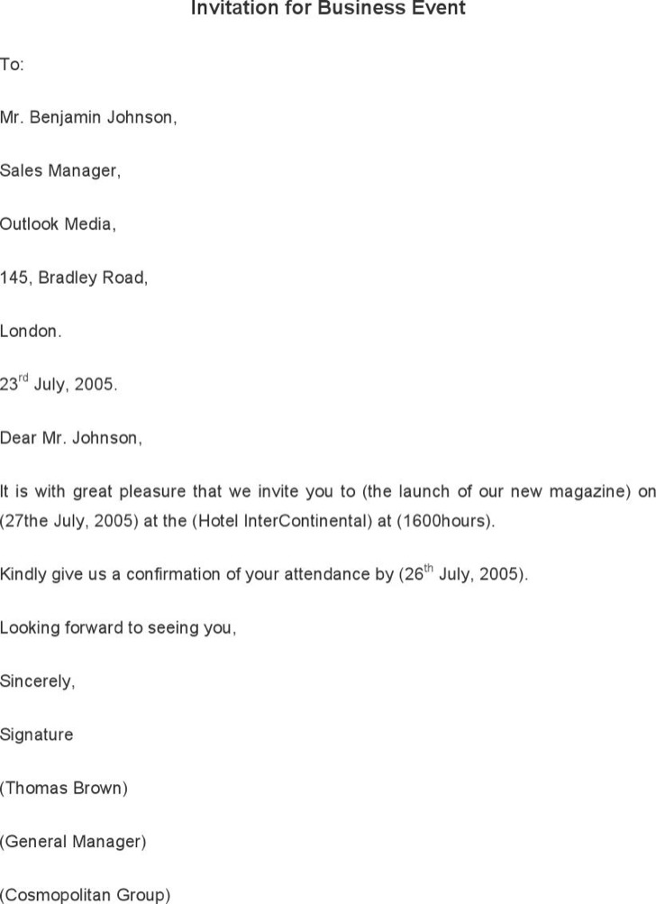 Invitation For Business Event Letter Template
