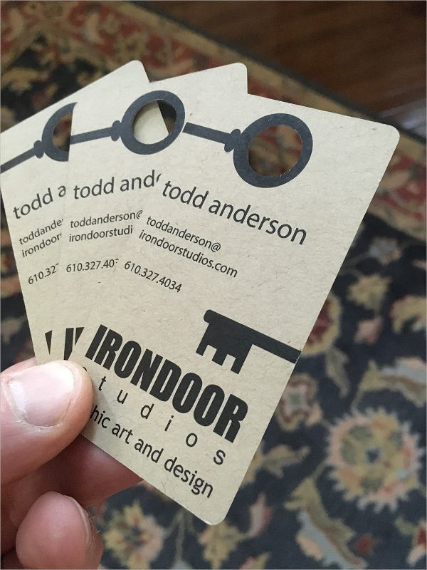 Irondoor Die Cut Business Card