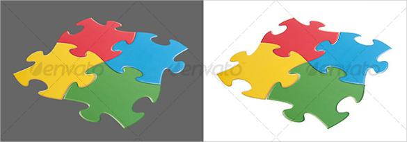 Isolated Puzzle Pieces Template