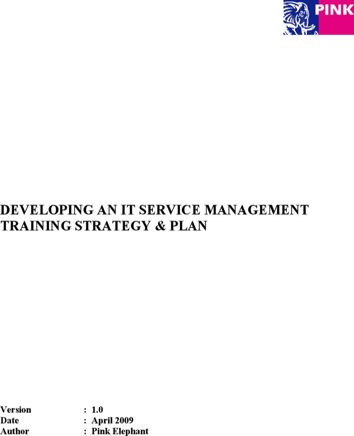 It Service Management Training Strategy Plan Pdf Template1
