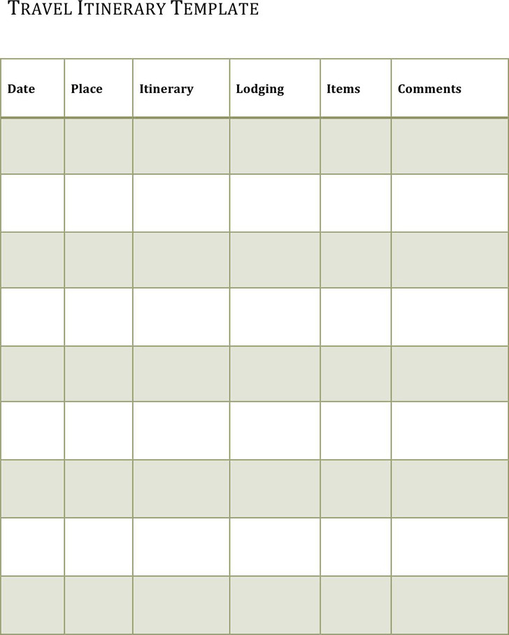 Itinerary Template 3