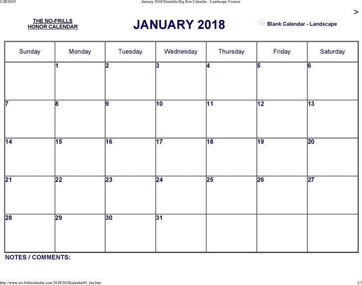 January 2018 Calendar 2