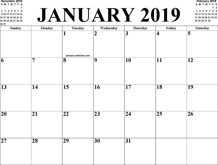 January 2019 Calendar 3