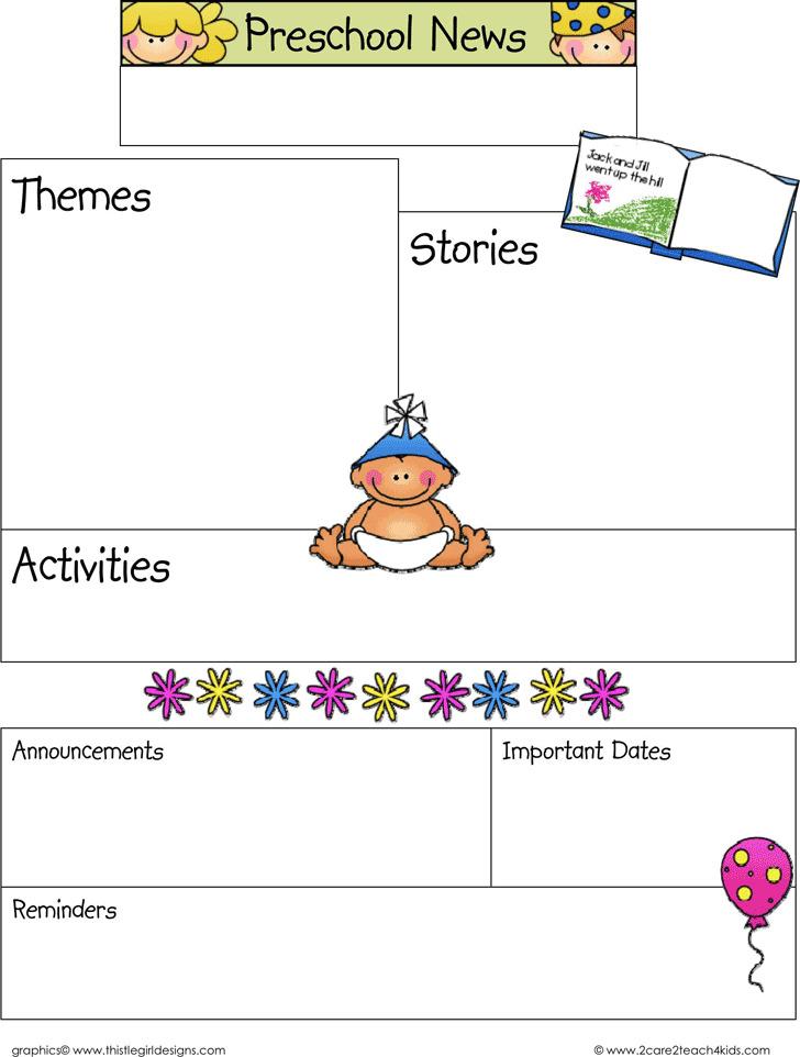 January Preschool Newsletter Template