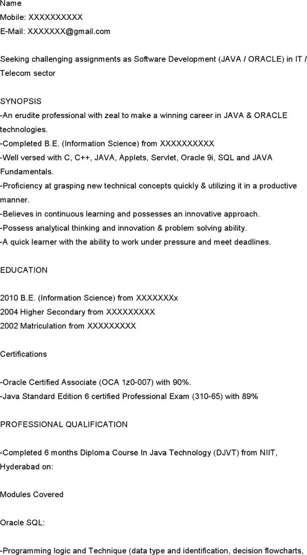 Java Developer Resume For Fresher