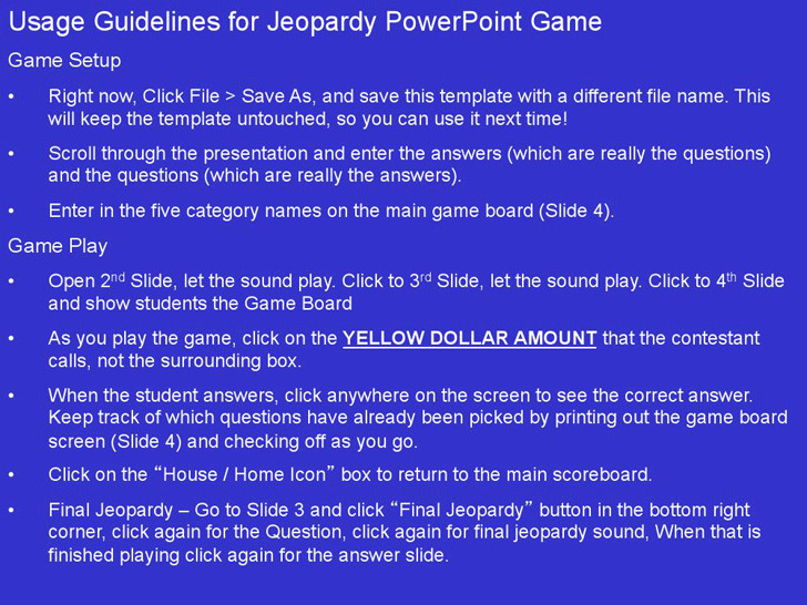 Jeopardy Powerpoint Template With Sound