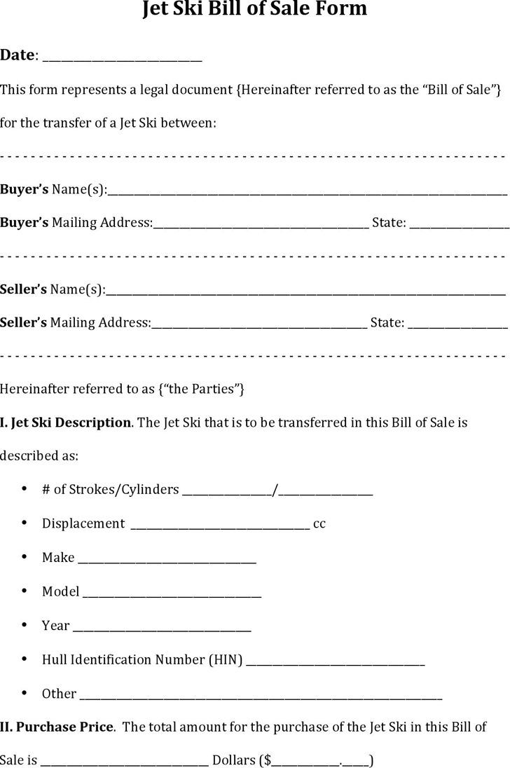 Jet ski Bill of Sale Form
