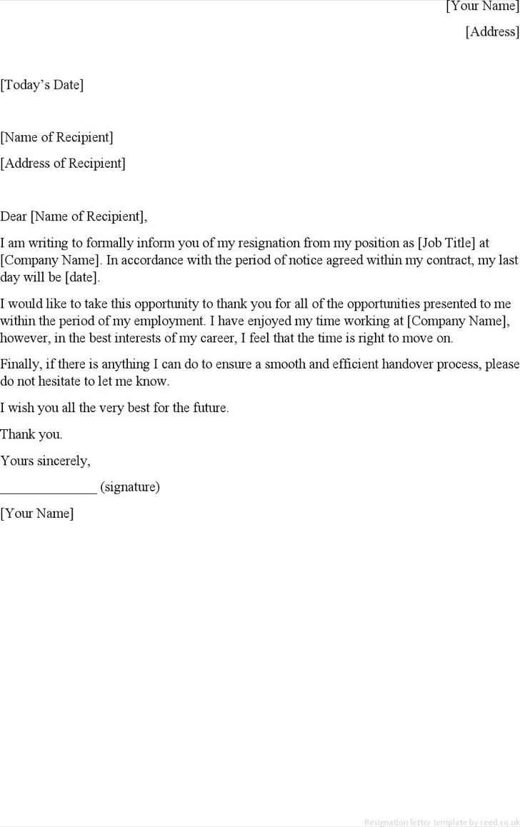 Job Contract Resignation Letter