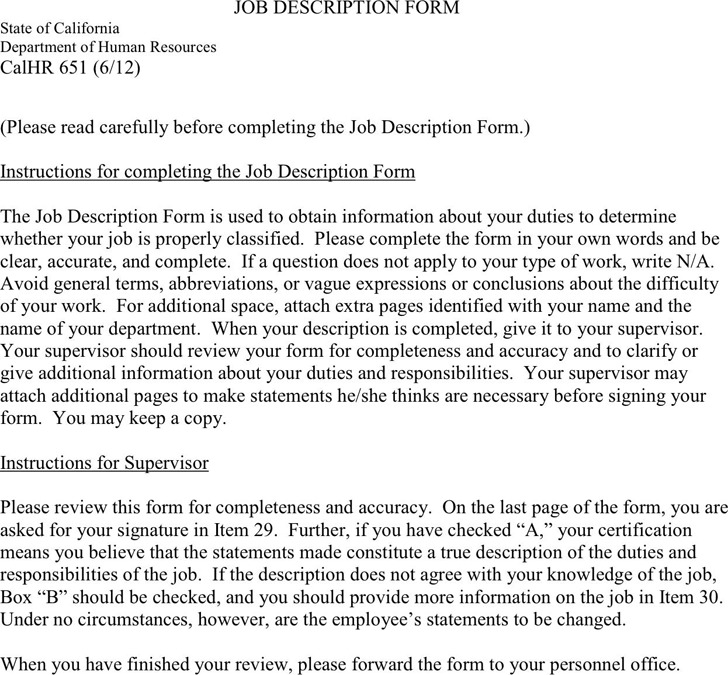 Job Description Template 2