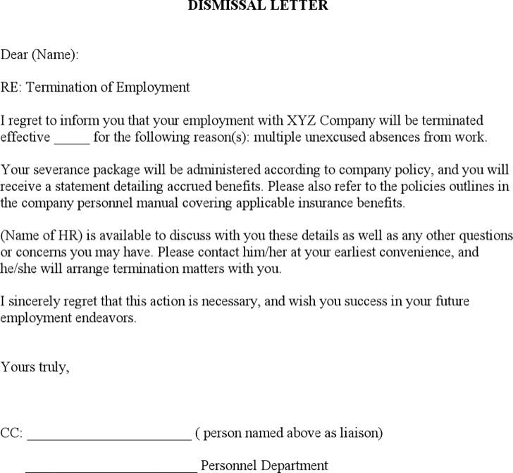 Job Dismissal Termination Letter