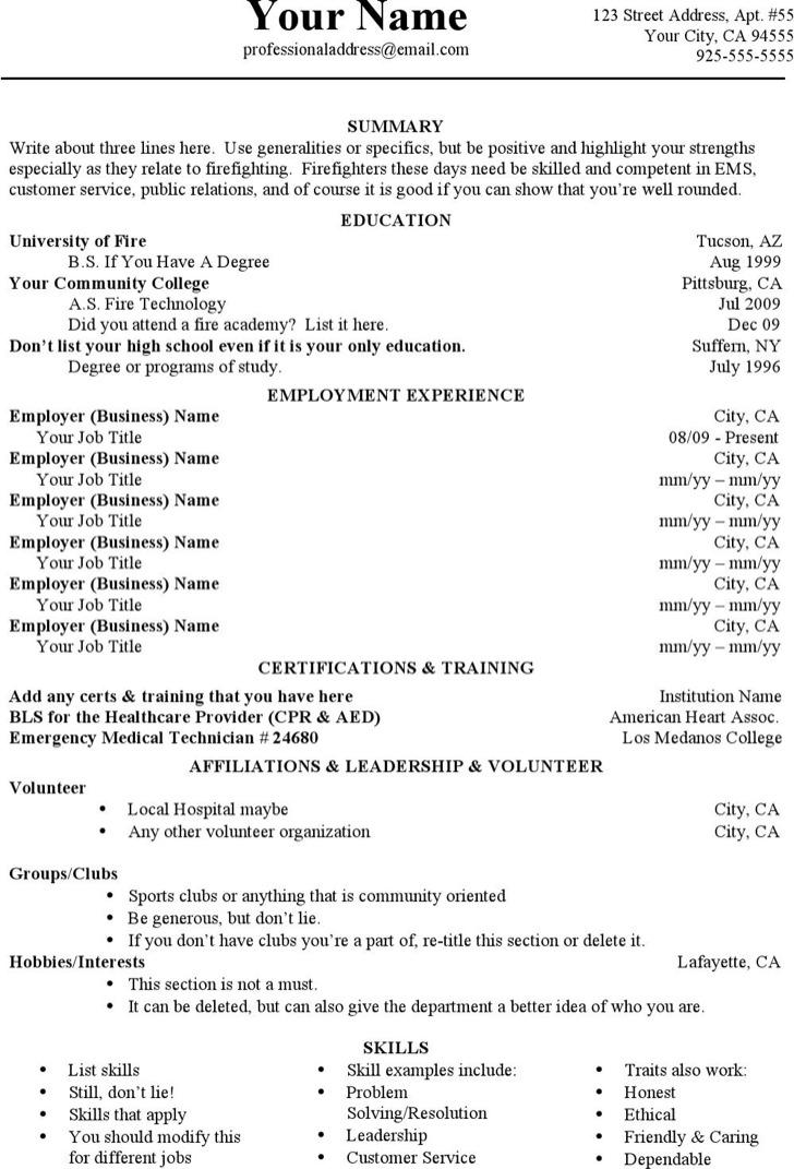 Job History Firefighter Resume