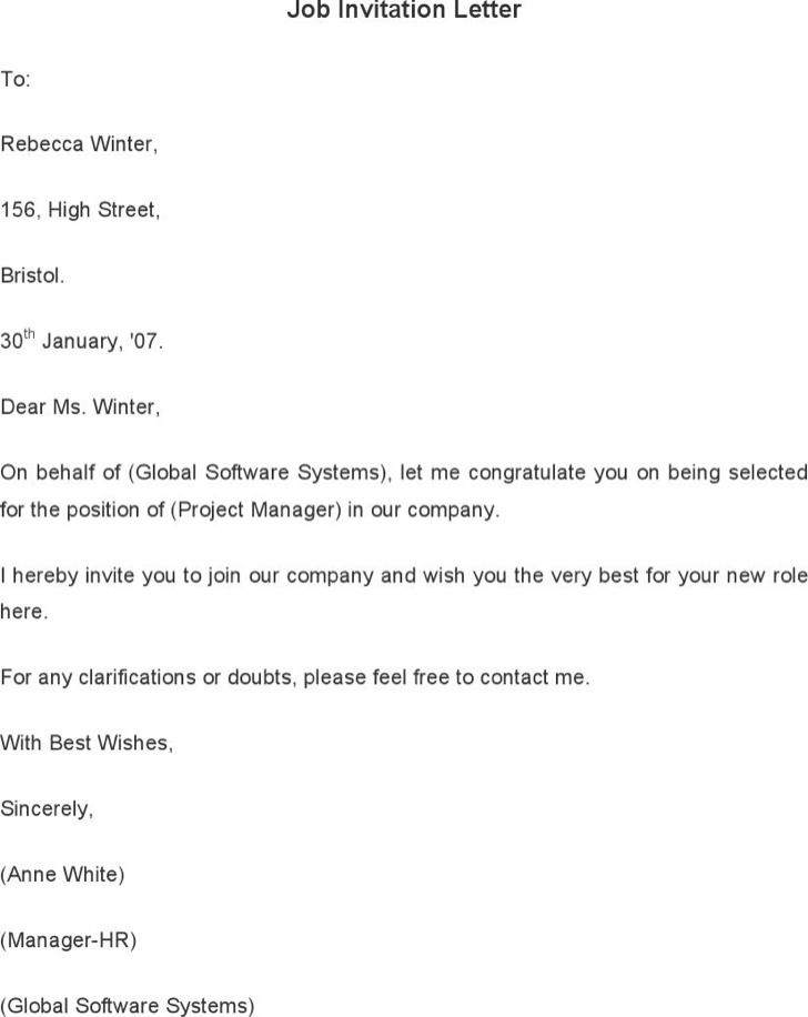 Job Invitation Letter Template