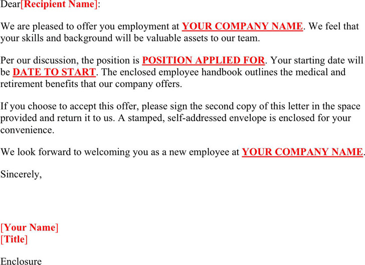 3 Job Offer Letter Sample Free Download