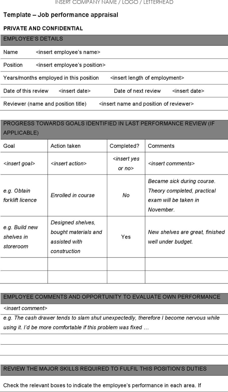 Job Performance Appraisal Template