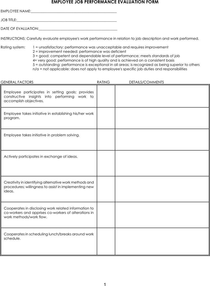 Job Performance Evaluation 3