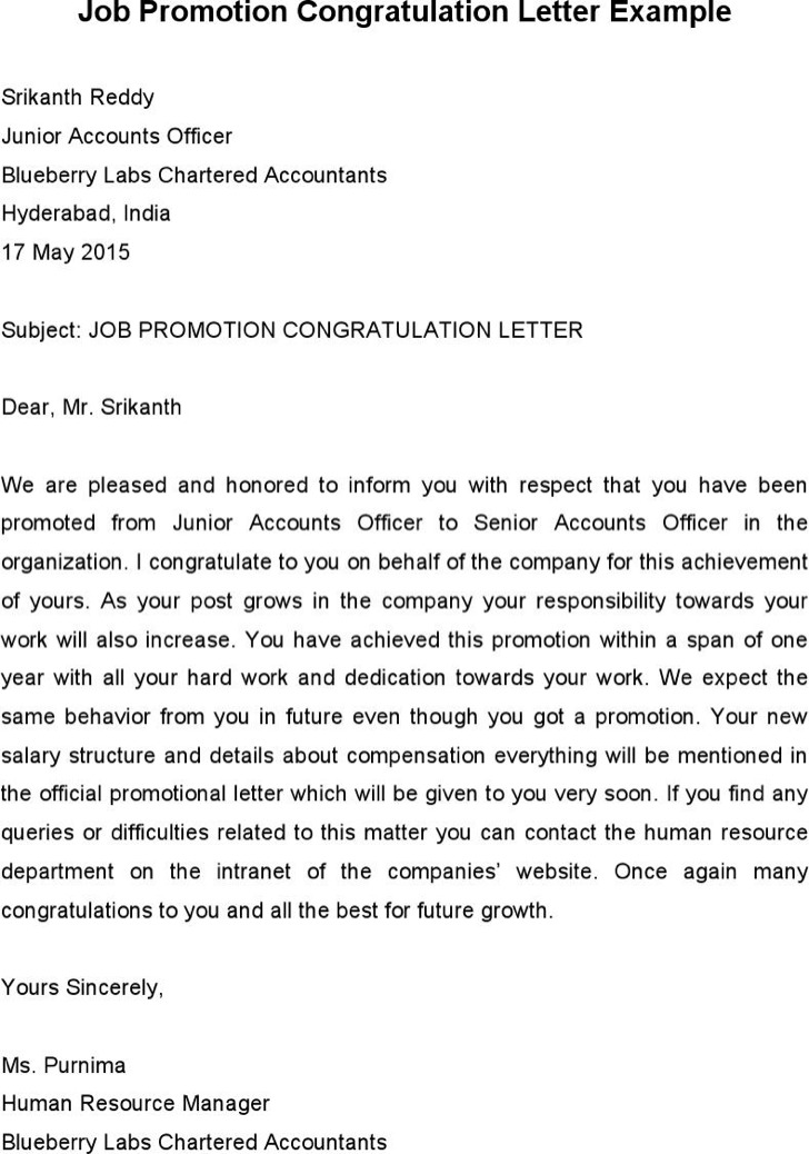 Job Promotion Congratulation Letter Example