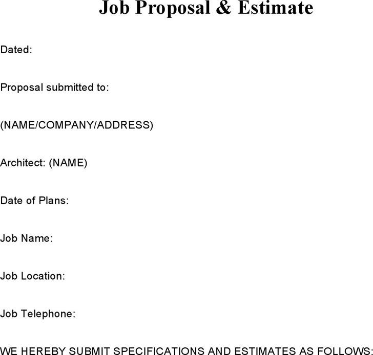 Job Proposal Samples & Estimate