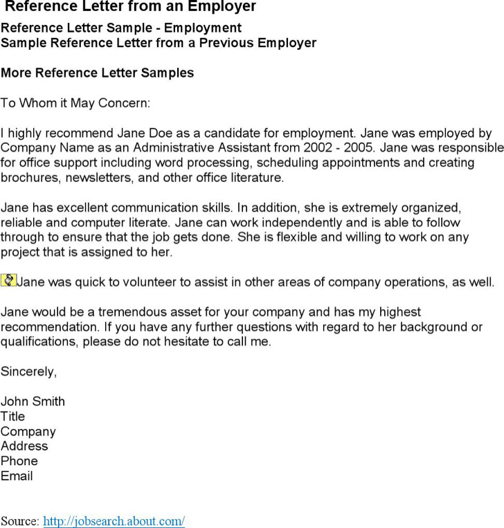 Job Reference Letter From Employer