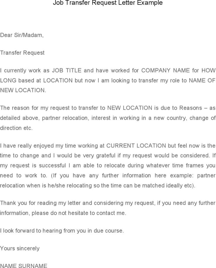 Job Transfer Request Letter Template Example